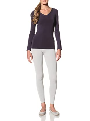 Cosabella Women's Smooth Free Long Sleeve V-Neck Top (Navy)