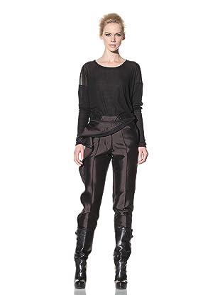 Haider Ackermann Women's Cropped Zipper Trousers (Chocolate)