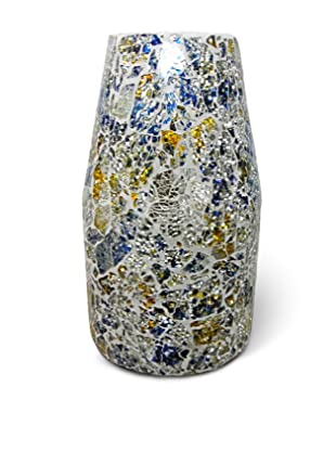 Global Pickings Sunshine Contour Mosaic Vase (Silver/White/Multi)