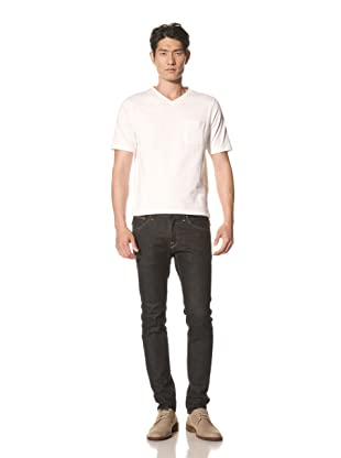 Thom Browne Men's Short Sleeve V-Neck Tee (Optic White)