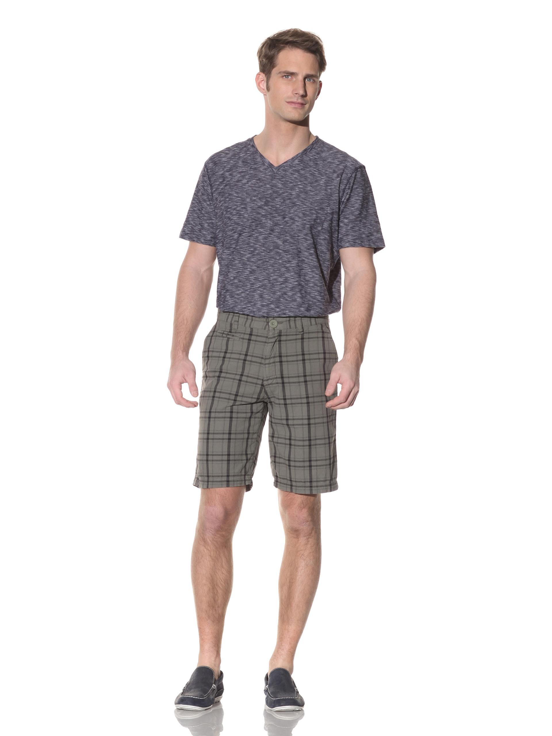 nüco Men's Plaid Shorts (Olive)