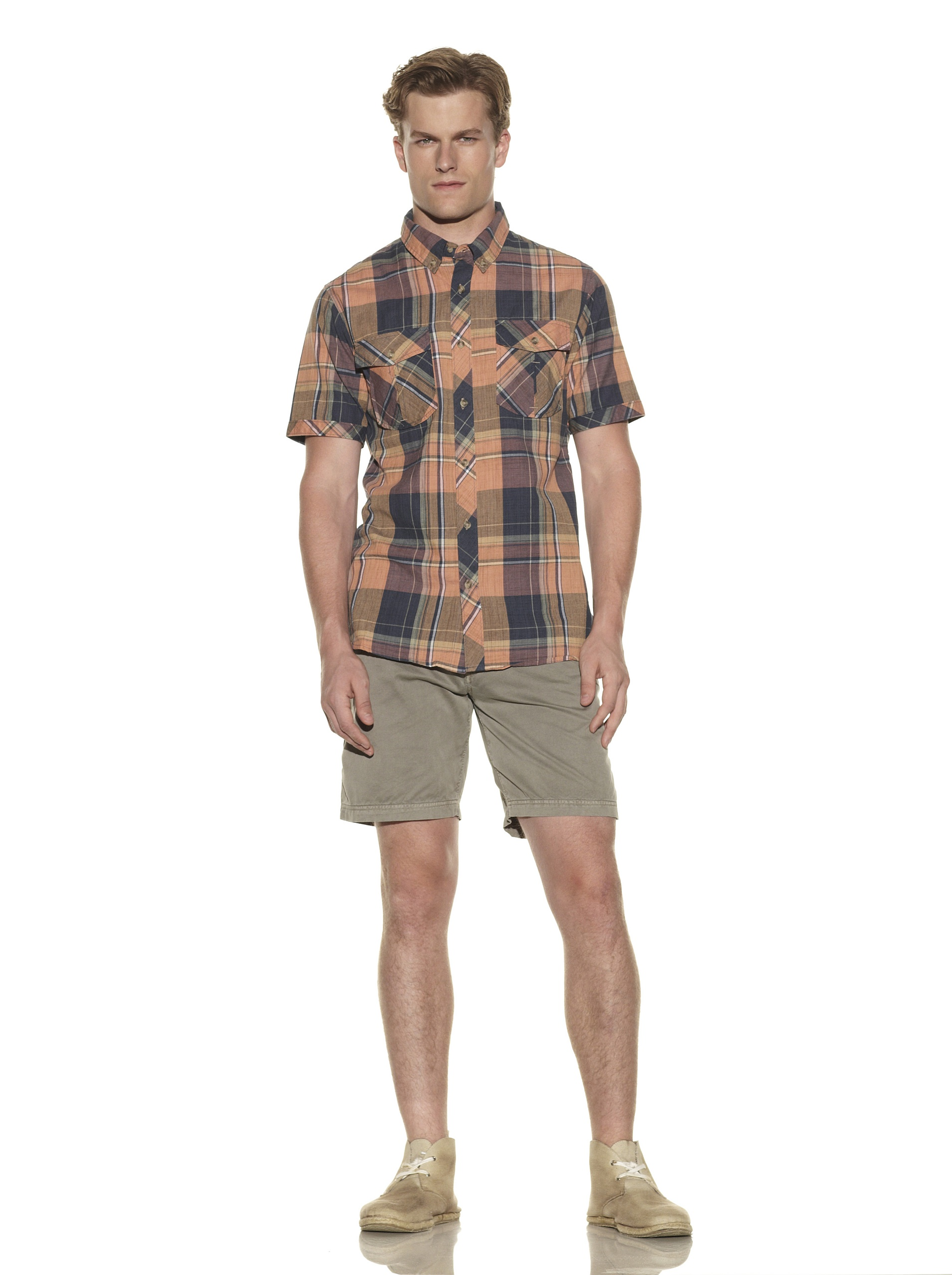 nüco Men's Short Sleeve Woven Plaid Shirt (Dark Teal)