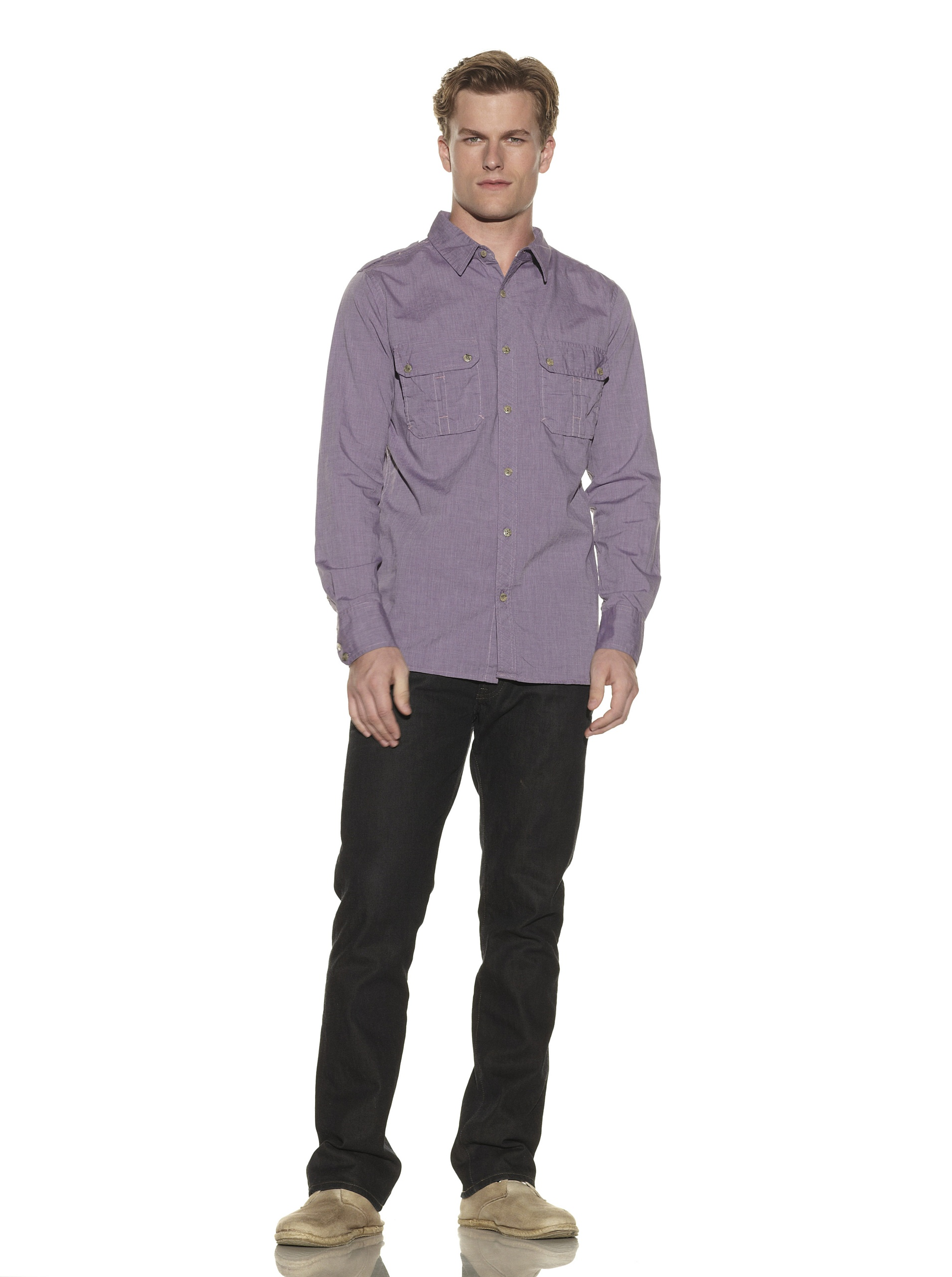nüco Men's Long Sleeve Woven Chambray Shirt (eggplant)