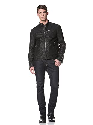Andrew Marc Men's De Oro Racer Banded Collar Motorcross Jacket with Cotton Twill Lining (Black)