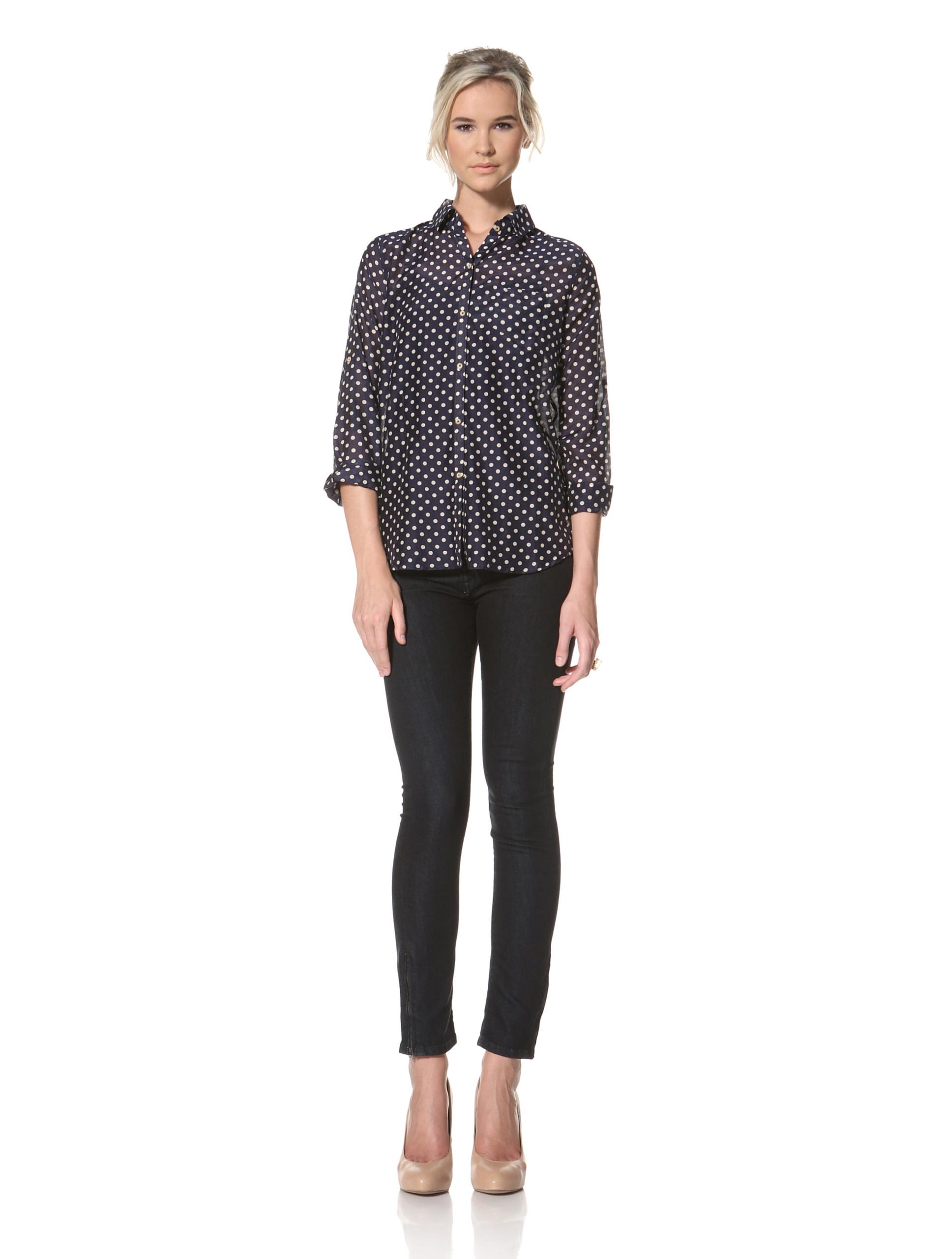 Trovata Women's Amalie Button Front Shirt (Navy Polka Dot)