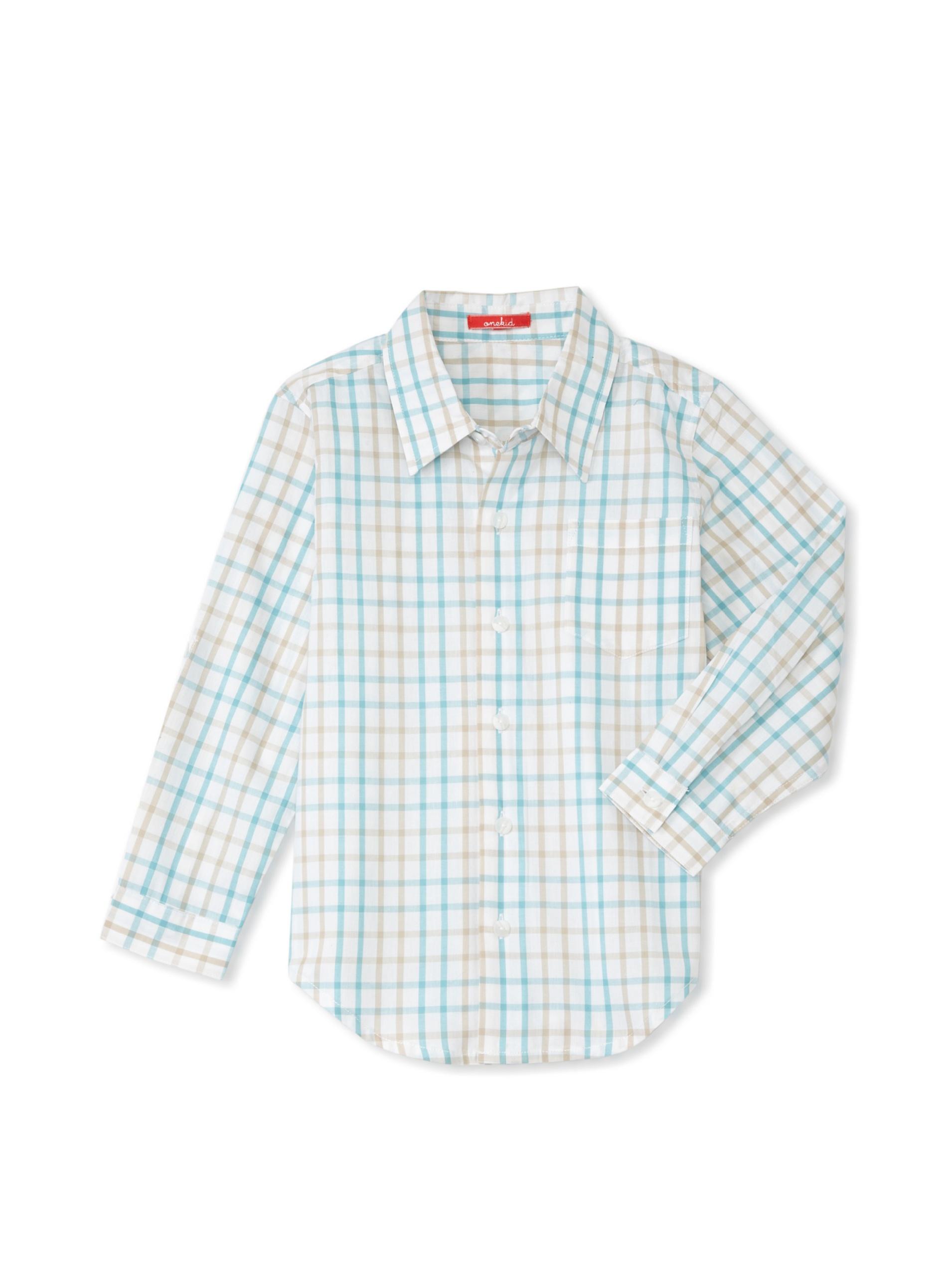 One Kid Boy's Checkered Shirt (Aqua Check)
