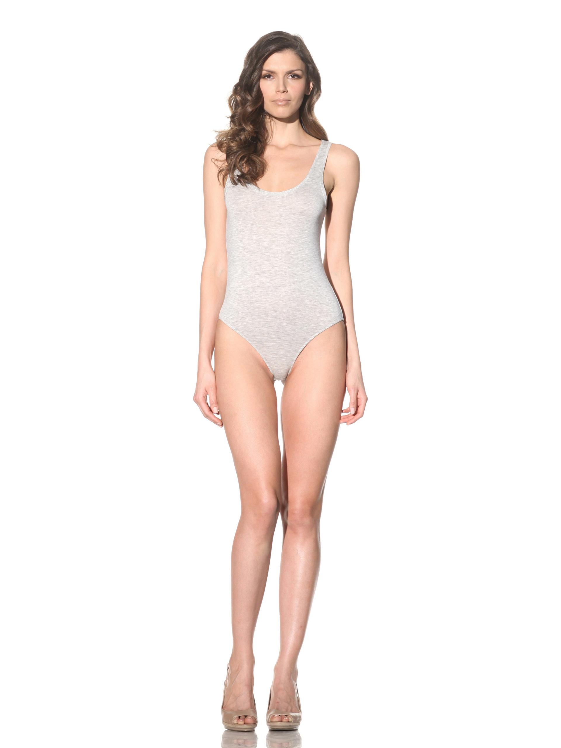 Bodas Women's Scoop Neck Tank Bodysuit (Light Grey)