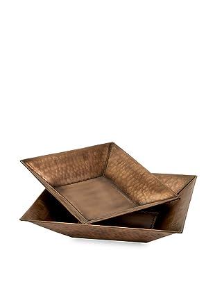 Imax Set of 2 Tauba Copper-Plated Square Bowls (Bronze)
