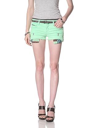 Rockstar Women's Twill Cutoff Shorts (Neon Green)