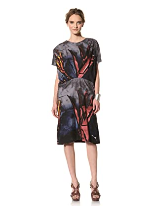 MARNI Women's Abstract Print Short Sleeve Gathered Front Dress (Midnight/Red Multi)
