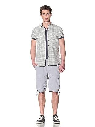 Onassis Men's Short Sleeve Point Collar 2 Pocket Shirt (Green check)