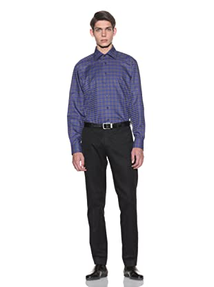 Toscano Men's Checkered Button-Up Shirt (Slate/Blue)