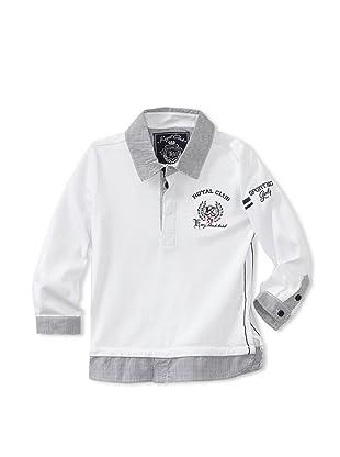 KANZ Boy's Long Sleeve Polo (White)