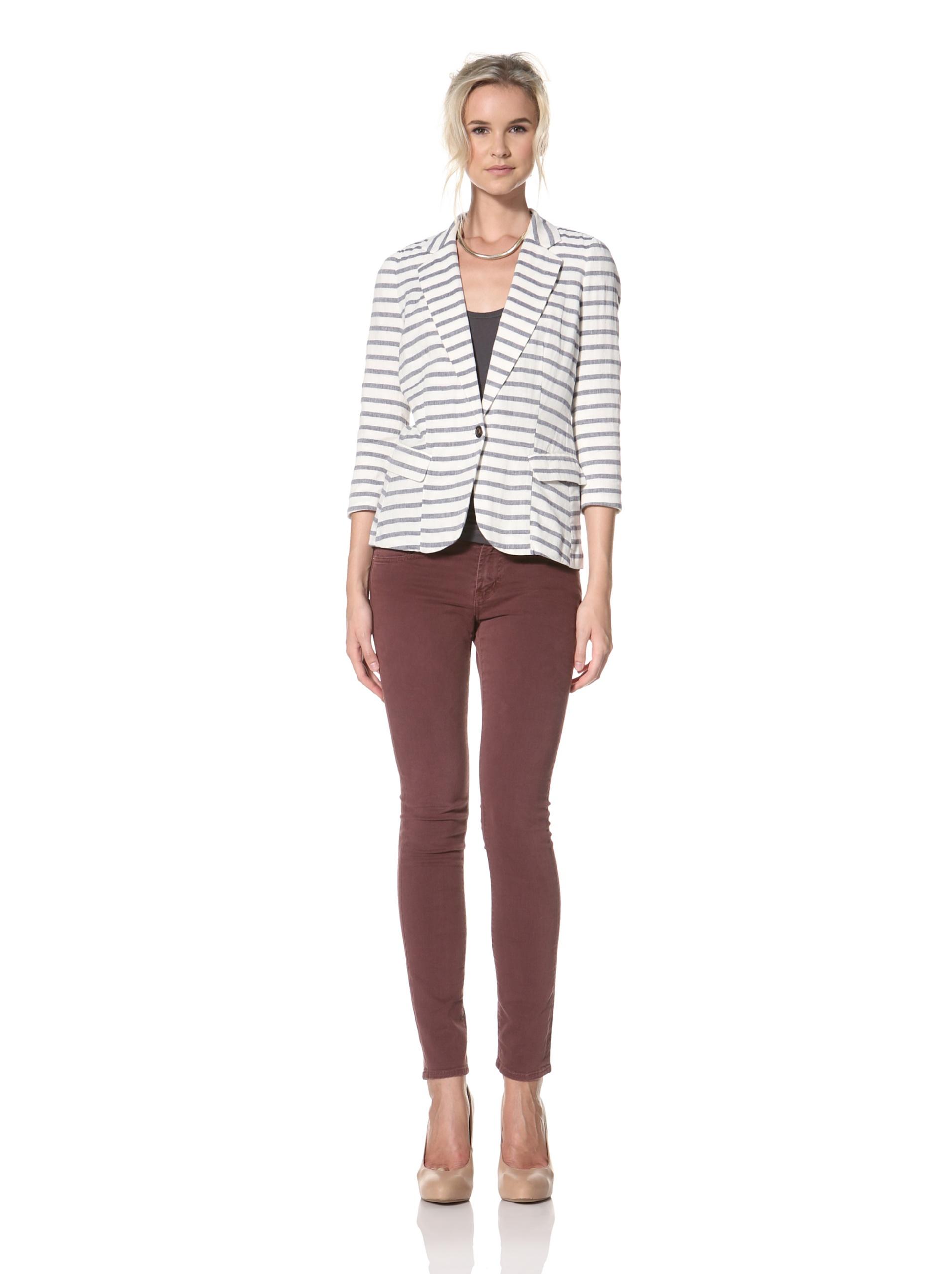 Trovata Women's Hancock Blazer (Navy/Multi Stripes)