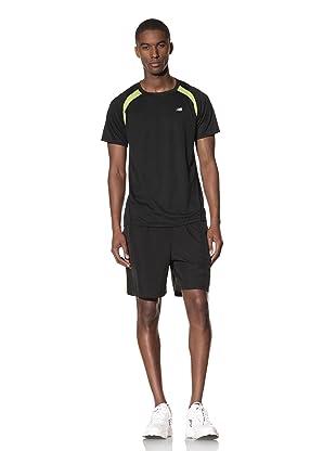 New Balance Men's Short Sleeve Sprint Top (Black/Tender Shoots)