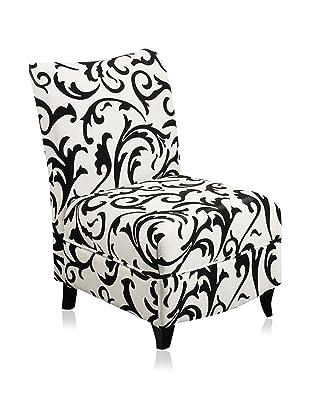 Armen Living Camelot Club Chair, Black/White