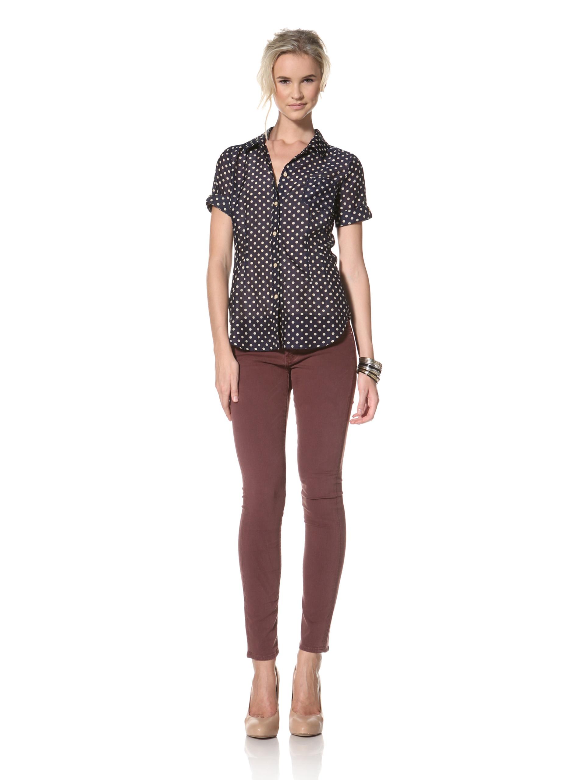 Trovata Women's Kelly Short Sleeve Shirt (Navy Polka Dot)