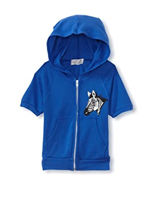 LA Lounge Girl's Zebra Short Sleeve Hoodie (Blue)