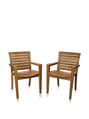 Les Jardins Set of 2 Stafford Dining Armchairs, Teak