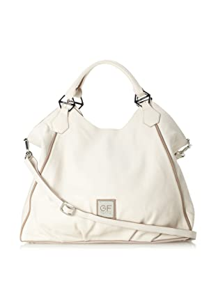 GF Ferre Women's Slouchy Leather Snap Tote, Beige/Taupe