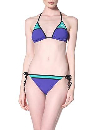 Puma Women's Color Block Tri Color Bikini Top (Indigo/Jade)