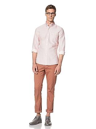 Vanishing Elephant Men's Classic Long Sleeve Woven Shirt (Red/White Stripe)