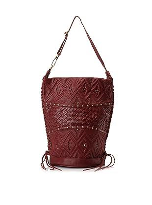 Cleobella Women's Adara Heritage Woven Bucket Bag, Sangria