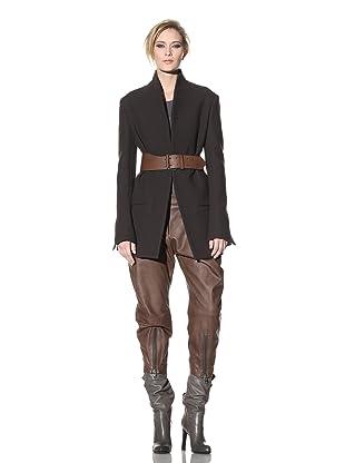 Haider Ackermann Women's Open-Front Menswear Jacket (Chocolate)