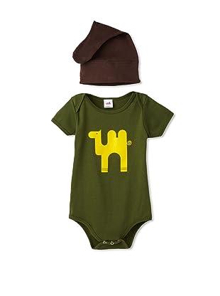 Colette Kids Alejandro Camel Bodysuit + Knot Hat (Olive)