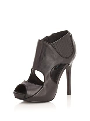 Cynthia Rowley Women's Distressed Leather Cut-Out Bootie (Black)