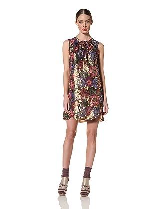 Anna Sui Women's Sleeveless Metallic Jacquard Dress (Cream/Metallic Multi)
