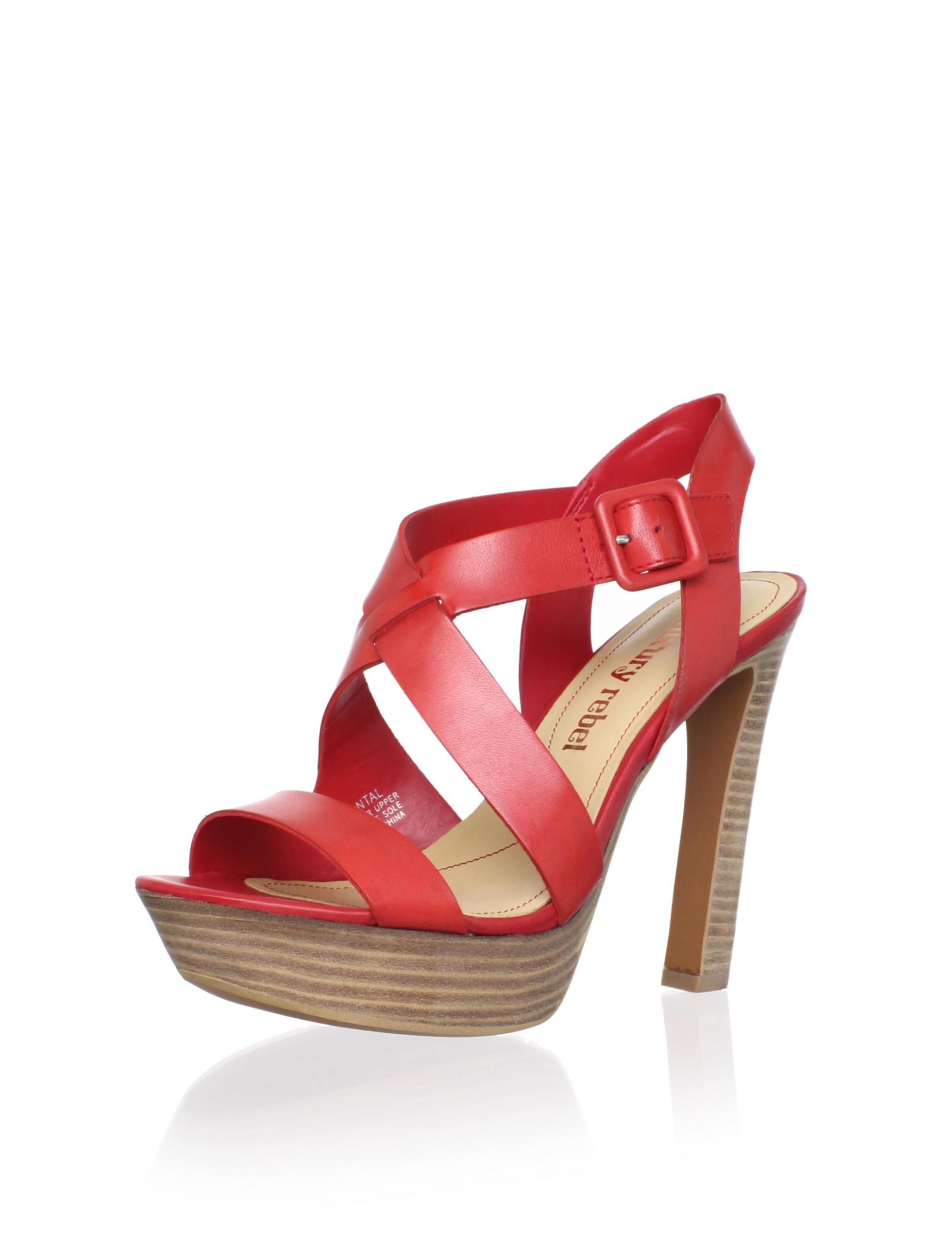 Luxury Rebel Women's Chantal Ankle-Strap Sandal (Coral Red)