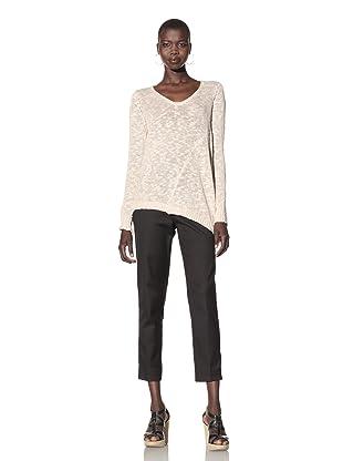 Acrobat Women's Slub Asymmetrical Hem Sweater (Chai)