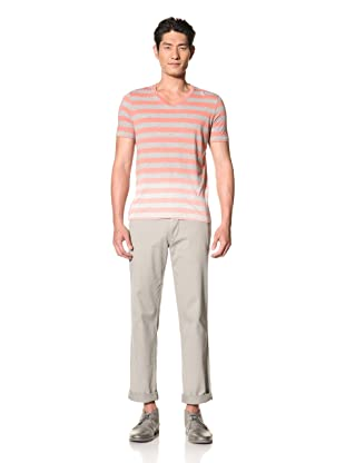 Color Siete Men's Ombre Striped Tee (Coral/Heather Grey)