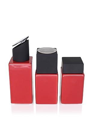 CULT DESIGN Cube Spice Jar, Grinder and Oil/Vinegar Set, Red