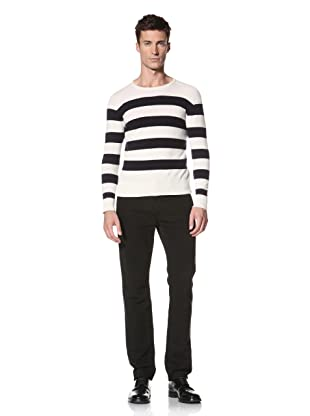 E.Tautz Men's Stripe Sweater (Ecru/Navy)