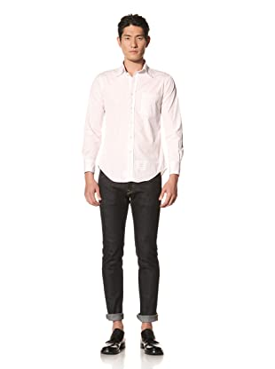 Thom Browne Men's Poplin Striped Shirt (Pink)