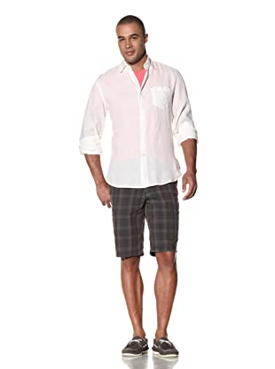 EQ Men's Enzyme Washed Linen Shirt (White)