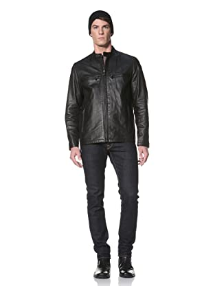 Andrew Marc Men's Coastline Banded Collar Motorcross Jacket (Black)