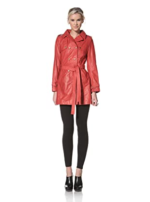 HARE + HART Women's Laird Leather Trench Coat (Cerise Red)