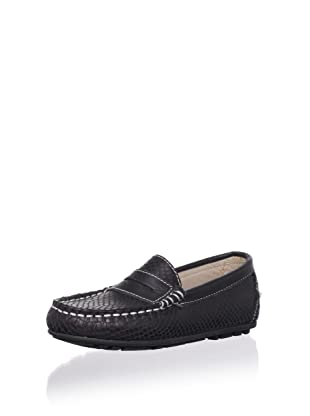W.A.G. Kid's Textured Moc Loafer (Black)