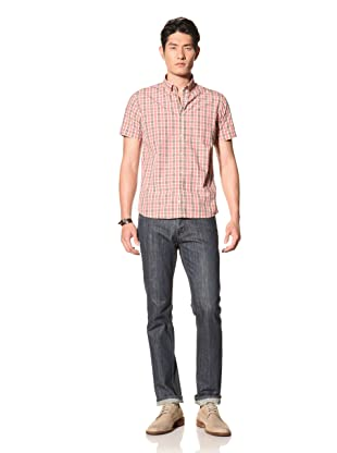 Color Siete Men's Jones Short Sleeve Tatersall Shirt (Coral)