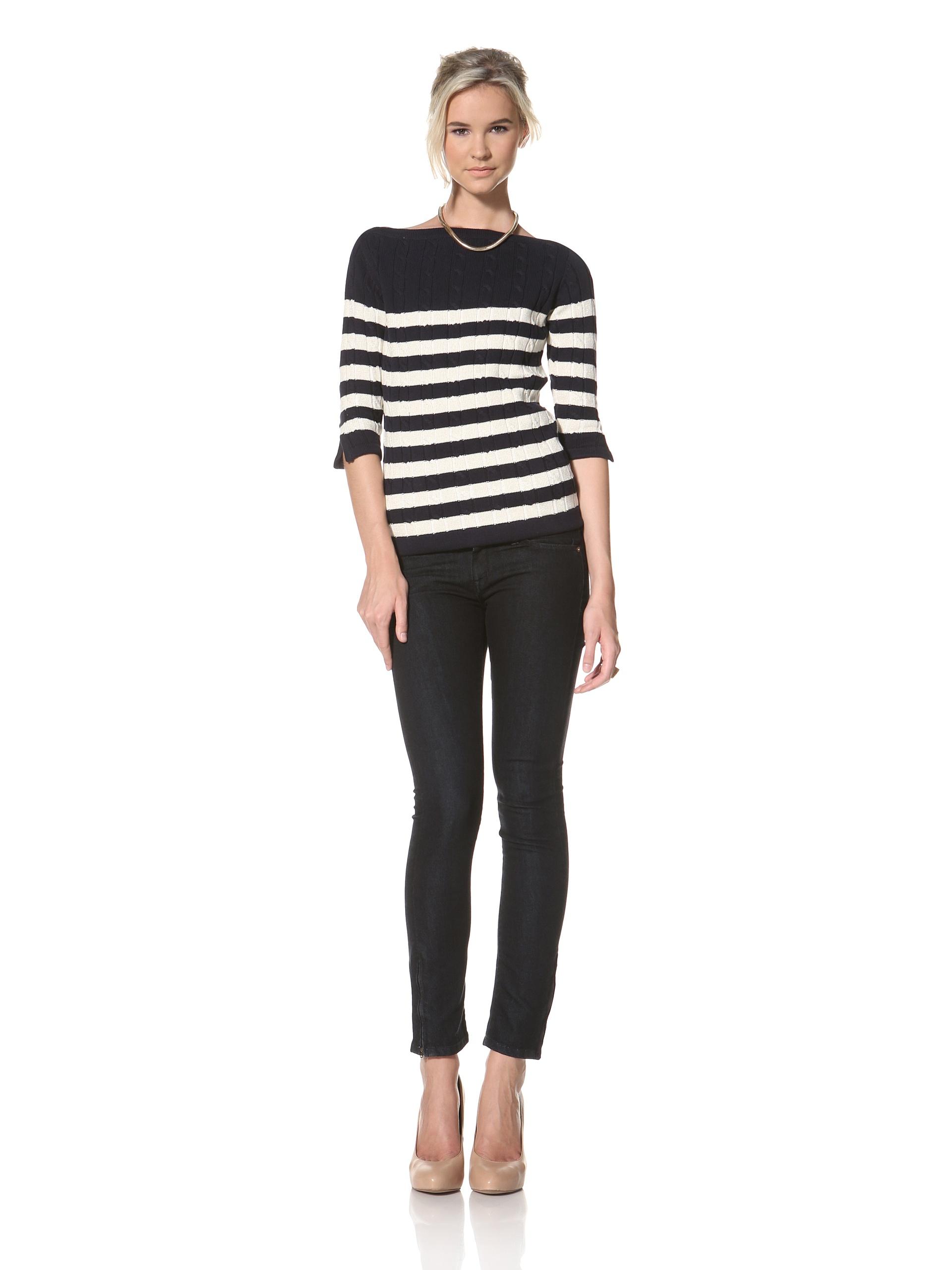 Trovata Women's Bardot Pullover Sweater (Navy/Multi Stripes)