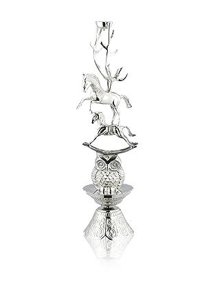 DKLiving Aluminum Horse Candle Holder, Silver