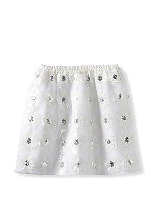 Charabia Girl's Flower Sequin Skirt (White)