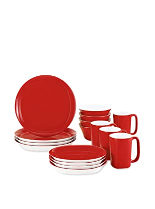 Rachael Ray Dinnerware Round & Square 16-Piece Dinnerware Set (Red)
