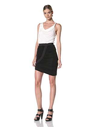 FACTORY by Erik Hart Women's Dramatic Ruched Skirt with Diagonal Hem (Onyx)