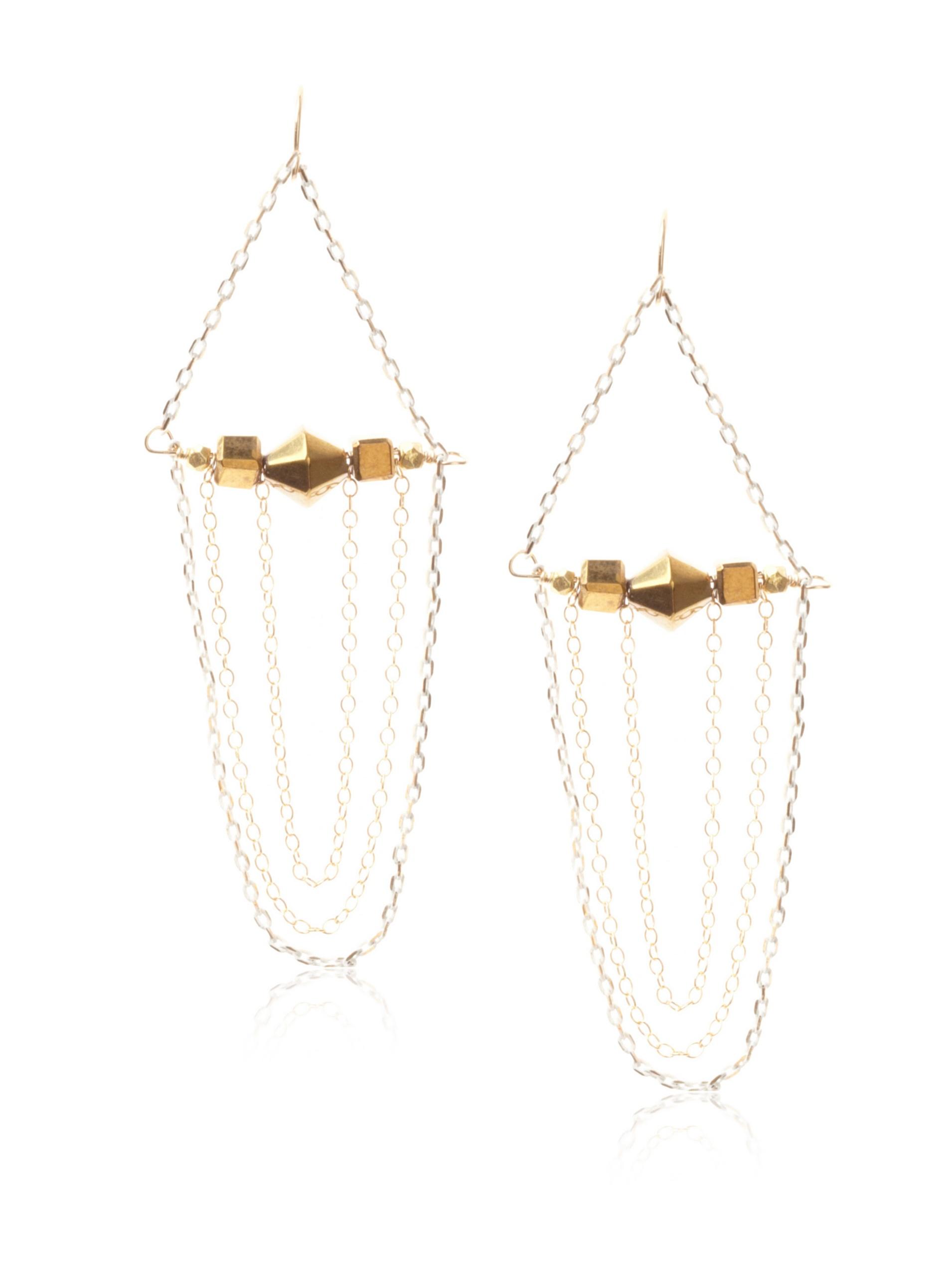 gorjana Vineyard Swing Earrings , Gold and White