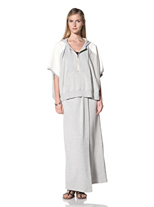 Poleci Women's French Terry Poncho with Perforated Leather Trim (Off-White)