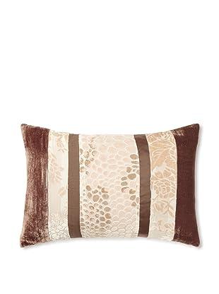 Kevin O'Brien Studio Patchwork Velvet Pillow, Latte Cream/Taupe, 12